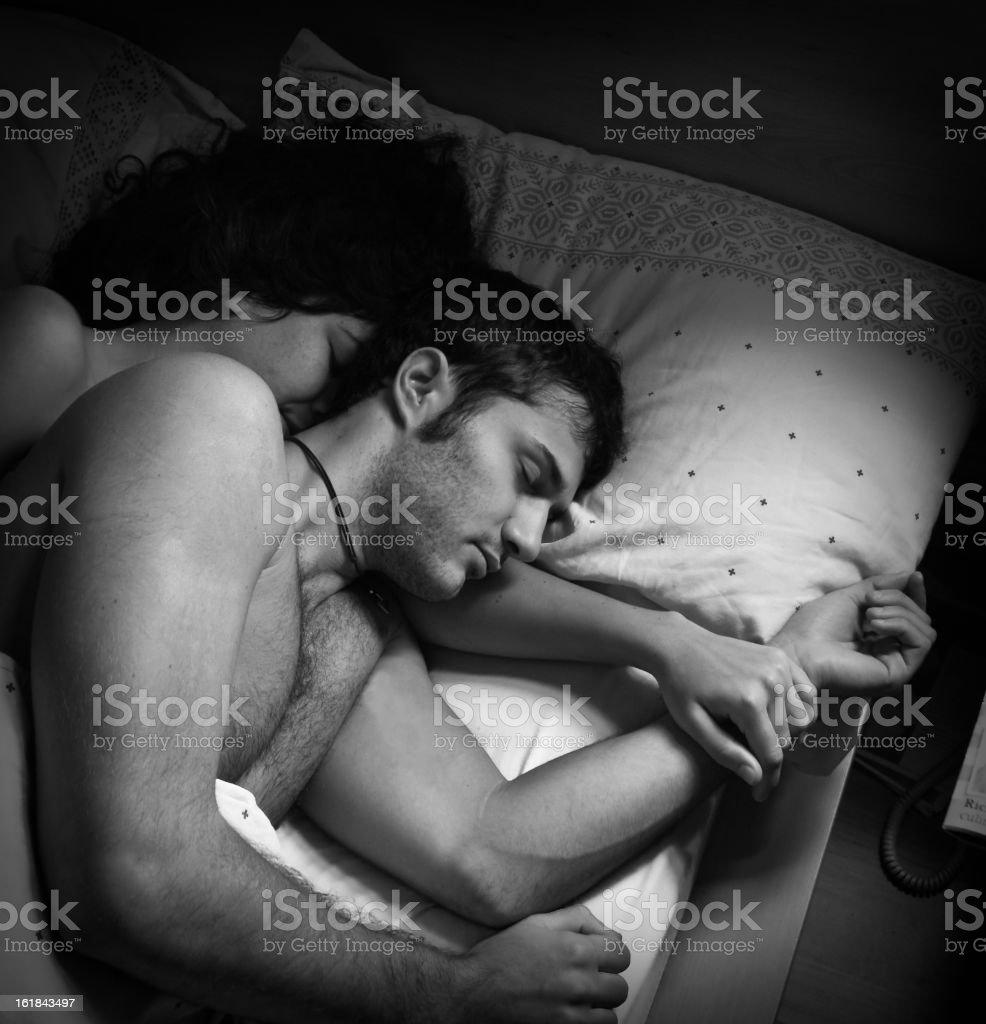 sleeping couple royalty-free stock photo