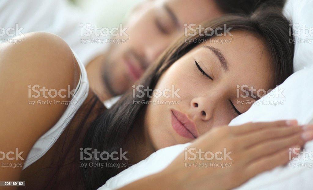 Sleeping couple. stock photo