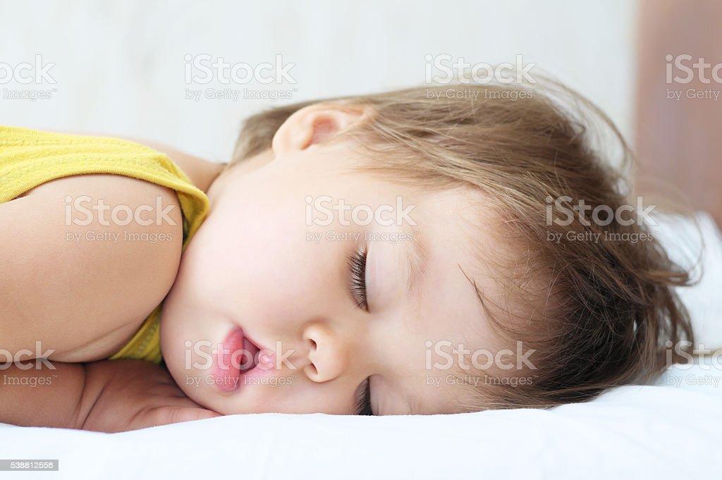 Sleeping cute baby portrait stock photo