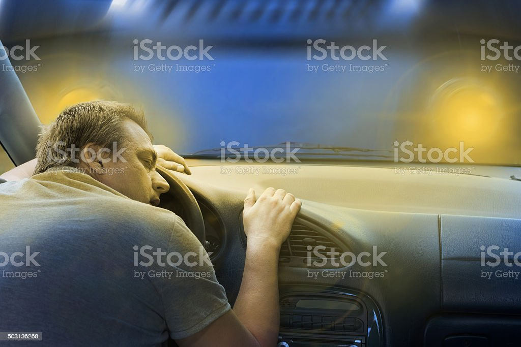Sleeping driver before his death stock photo