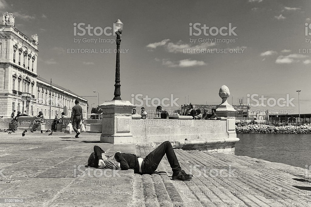 Sleeping in Lisbon stock photo