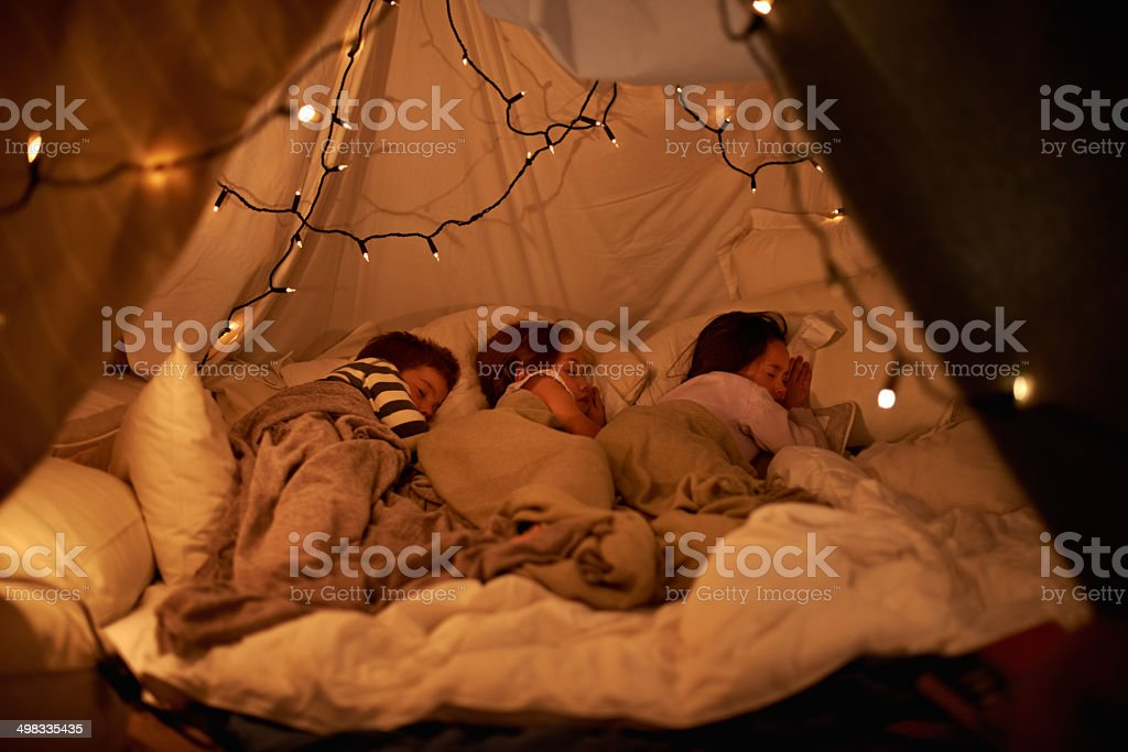 Sleeping in our imaginary tent stock photo