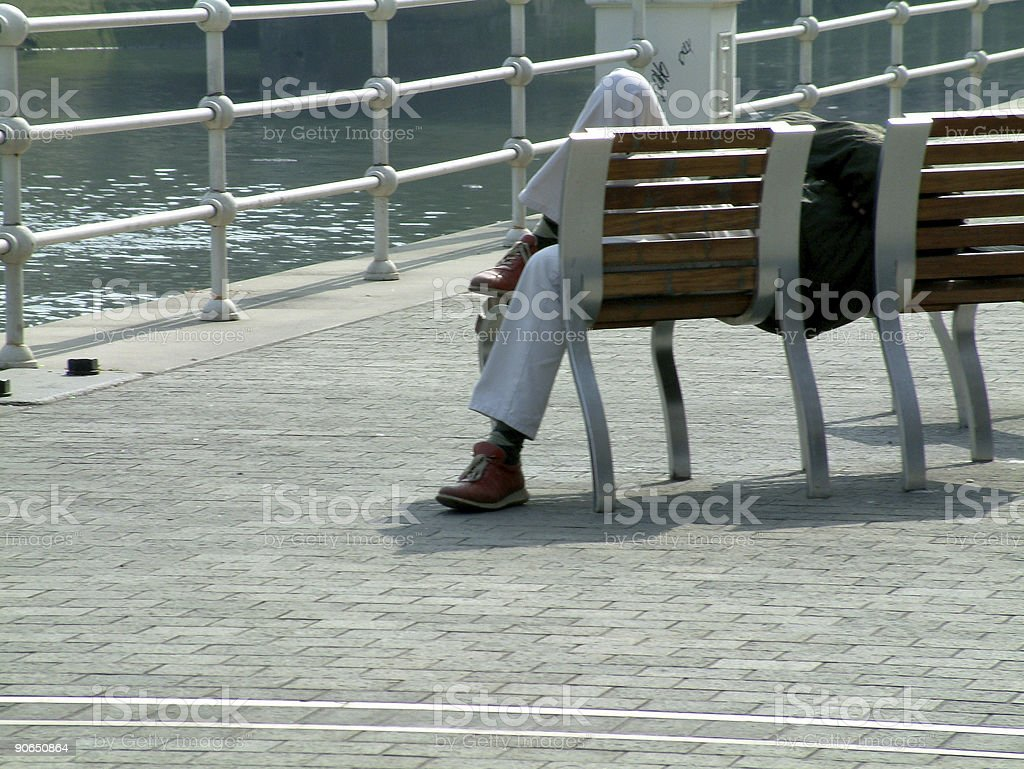 sleeping in the street royalty-free stock photo