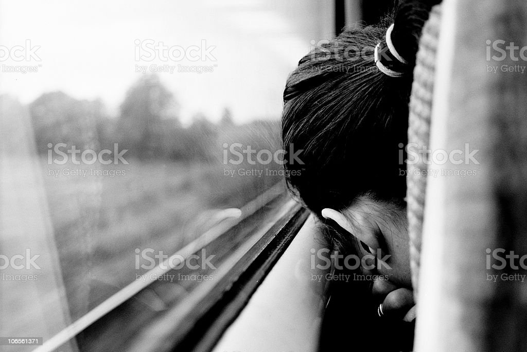 sleeping in the train royalty-free stock photo