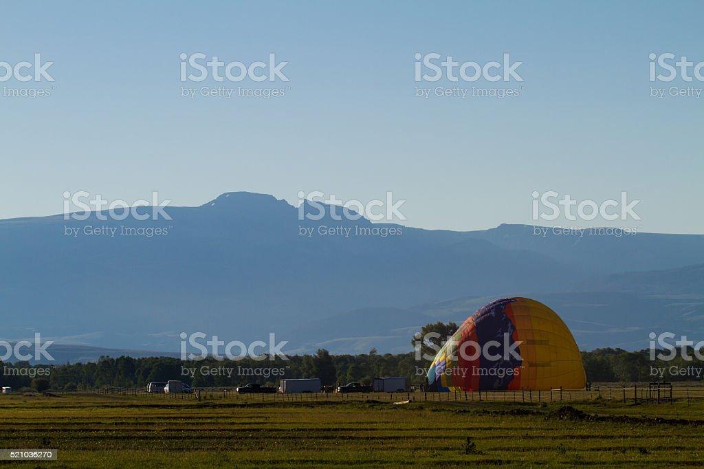 Sleeping Indian mountain and Balloon stock photo