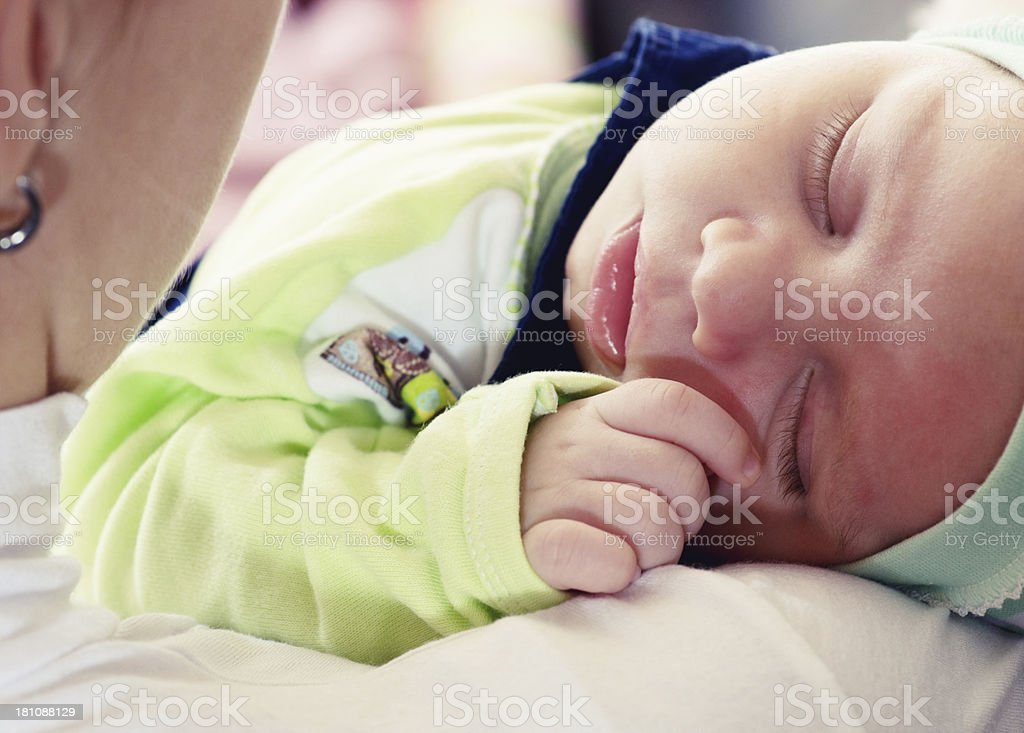 Sleeping little baby boy royalty-free stock photo