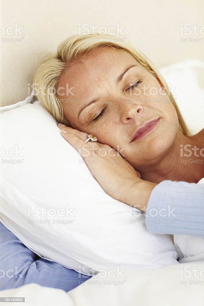 Sleeping mature woman royalty-free stock photo