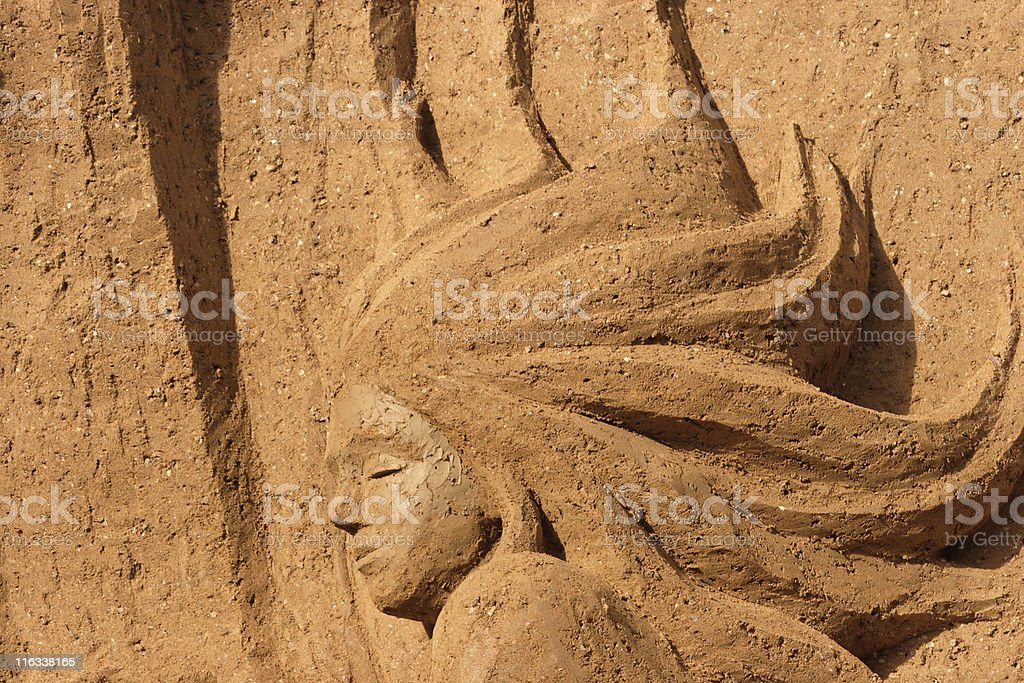 Sleeping Mermaid Sand Castle, Elaborate Design, Human Form, Female, Bas-Relief stock photo
