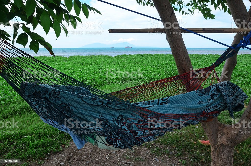 Sleeping net in tree stock photo