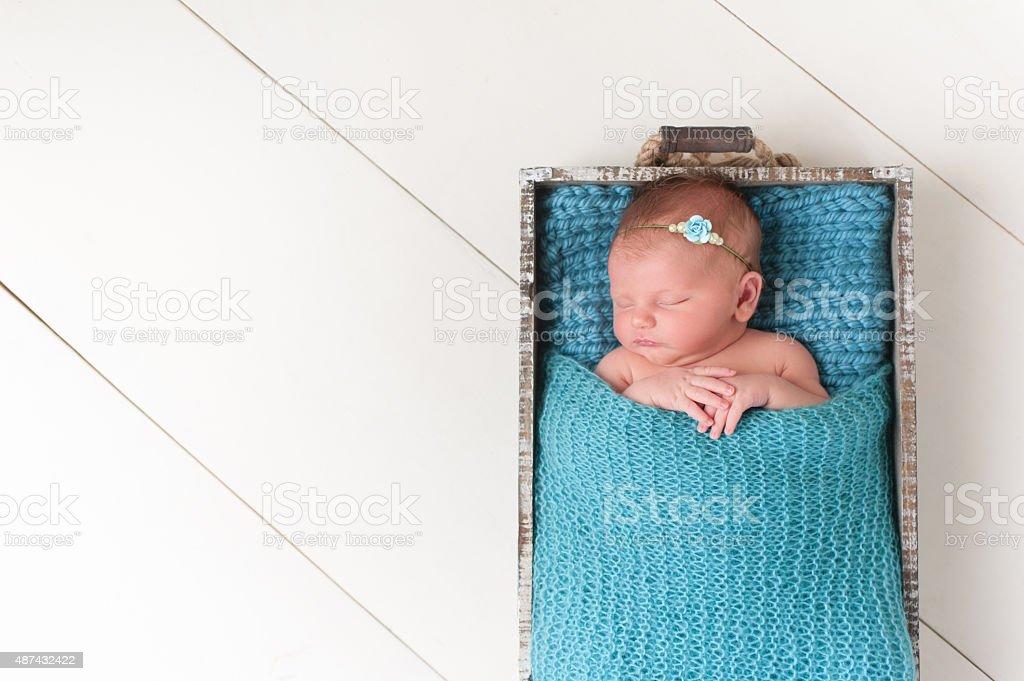 Sleeping Newborn Baby Girl in Wooden Crate stock photo