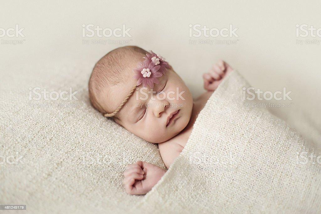 Sleeping newborn baby girl royalty-free stock photo
