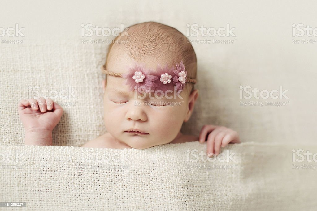 Sleeping newborn baby girl royalty-free stock photo