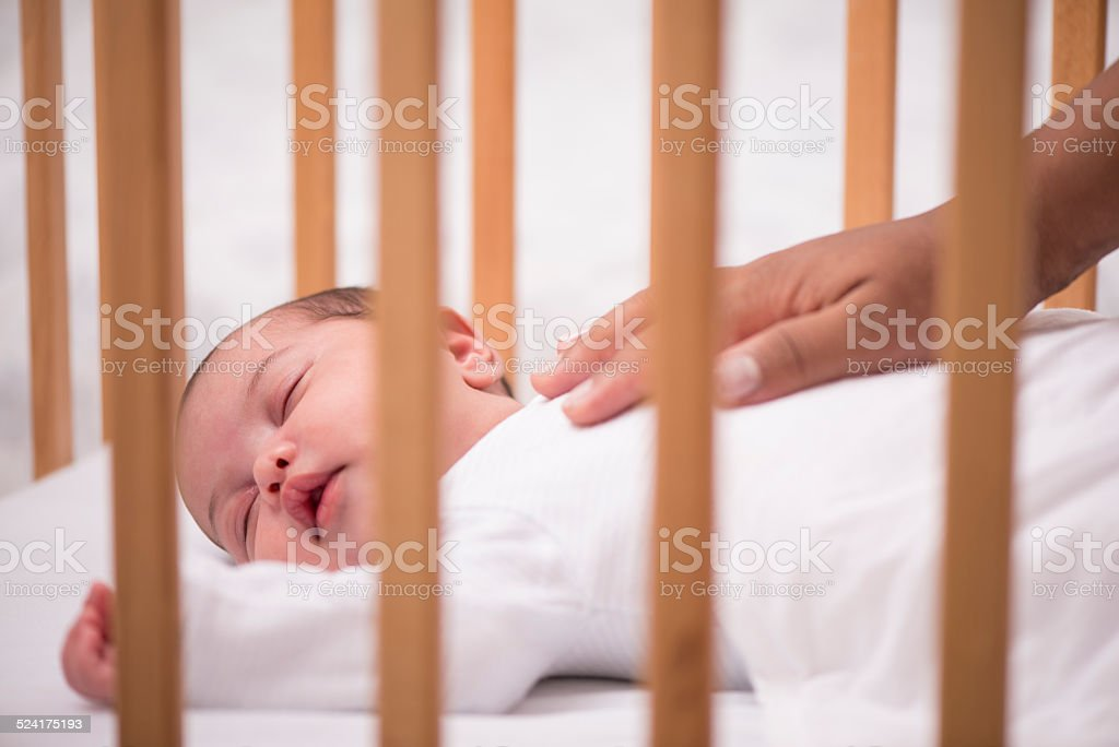 Sleeping newborn baby. stock photo