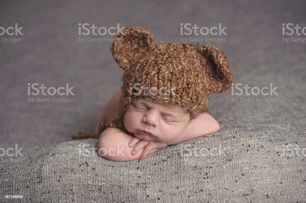 Sleeping Newborn In Hat royalty-free stock photo