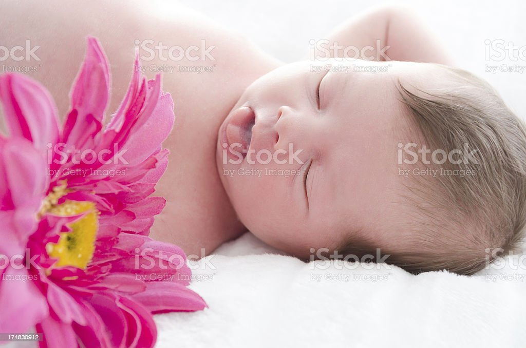 Sleeping newborn with tongue sticking out and flower. royalty-free stock photo