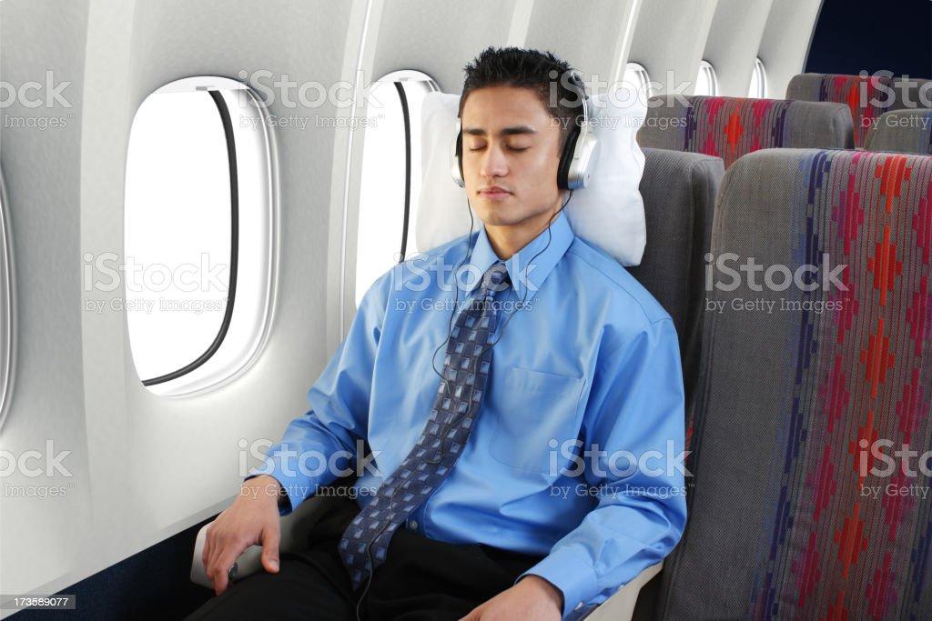 Sleeping On Airplane royalty-free stock photo