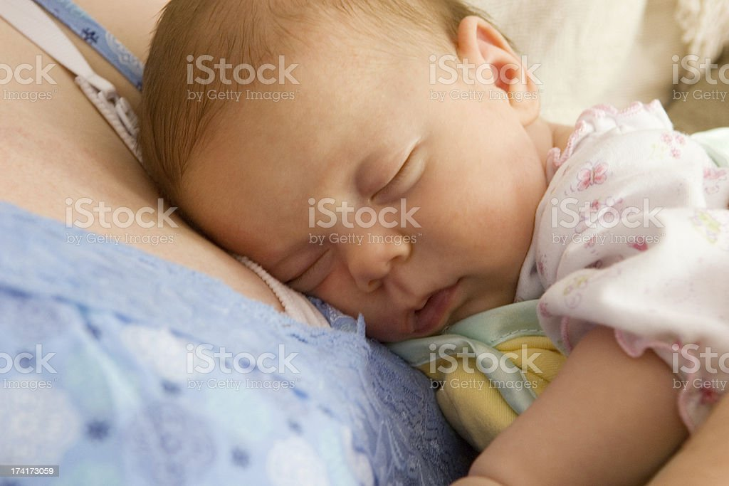 Sleeping on Bosom royalty-free stock photo