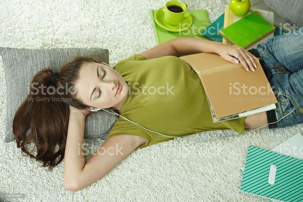 Sleeping on floor royalty-free stock photo