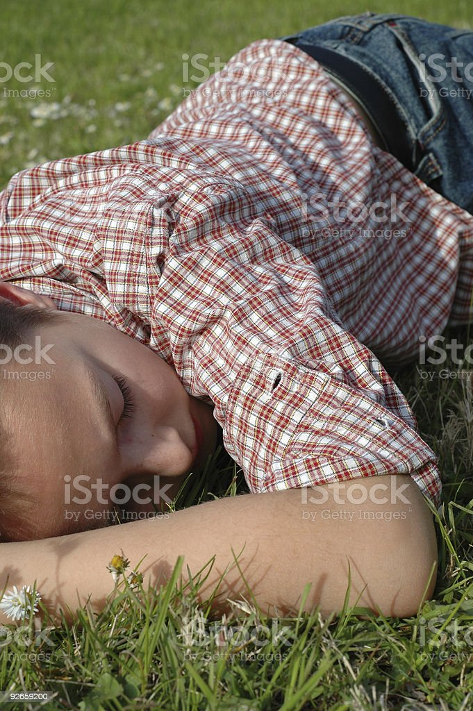 Sleeping on the grass royalty-free stock photo