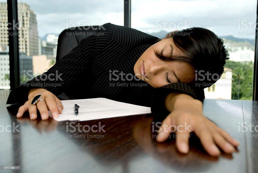 Sleeping on the job stock photo