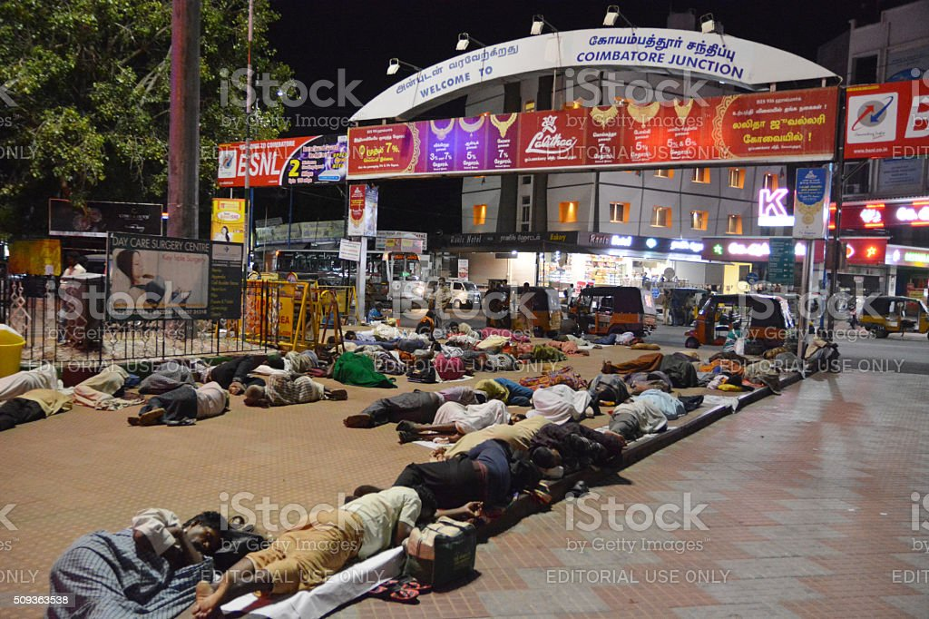 Sleeping people at Coimbatore stock photo