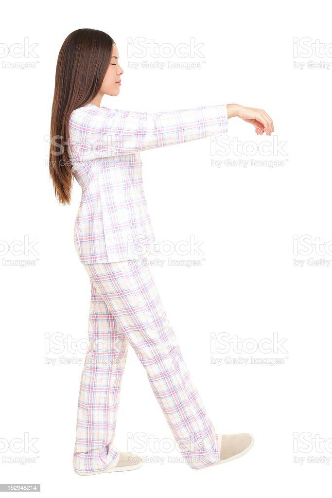 Sleeping sleepwalking woman stock photo