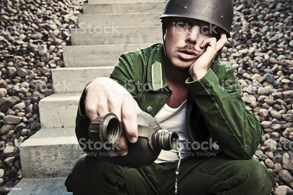 sleeping soldier stock photo