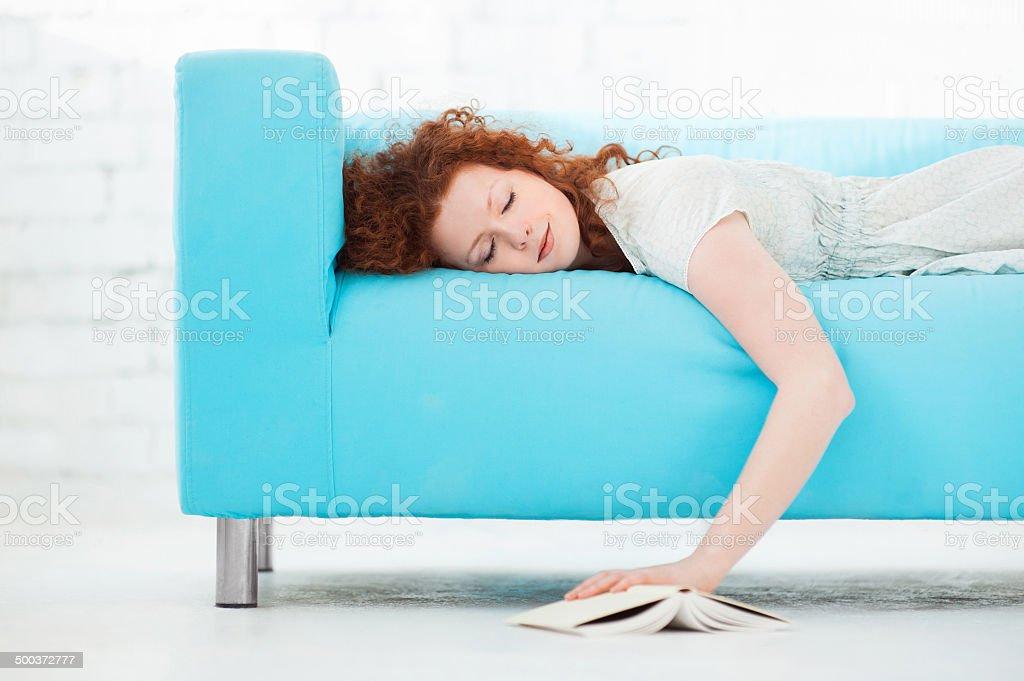 Sleeping student stock photo