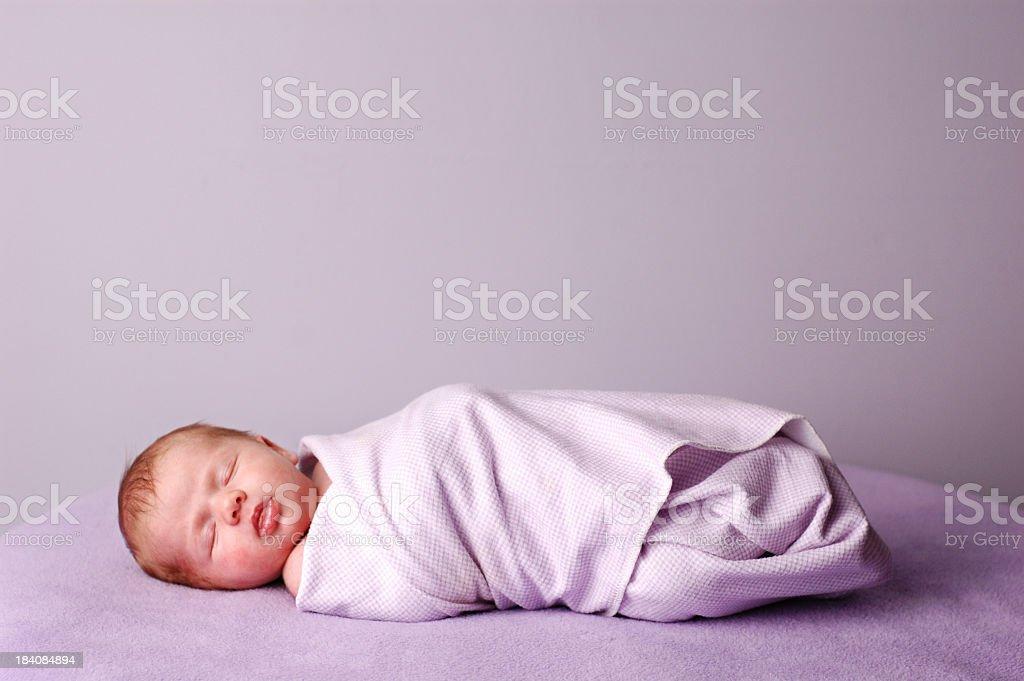 Sleeping, Swaddled Newborn stock photo