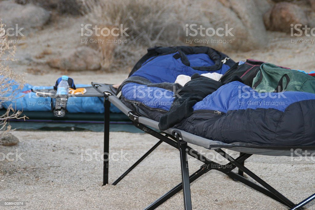 Sleeping under the stars stock photo