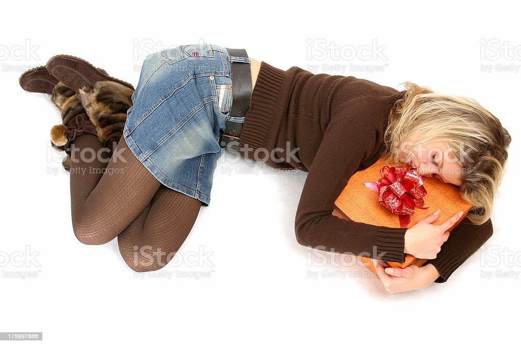 Sleeping with a box royalty-free stock photo