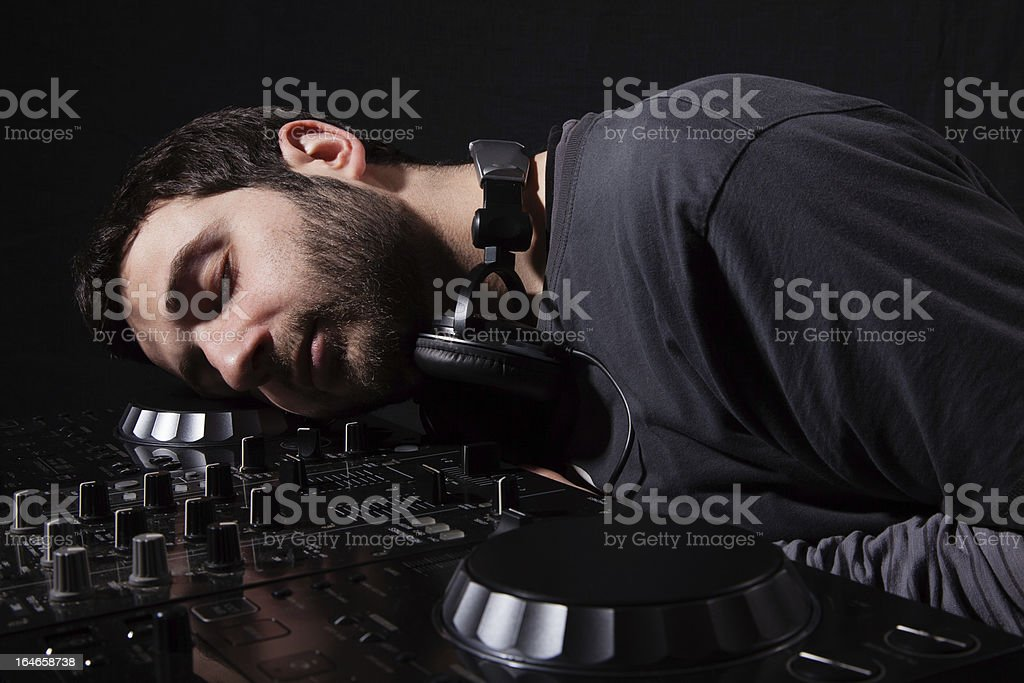 Sleeping with Music royalty-free stock photo
