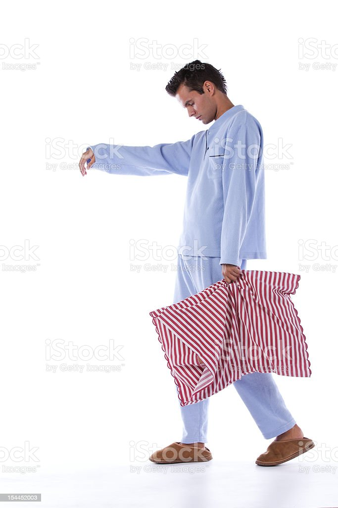 Sleepwalking man stock photo