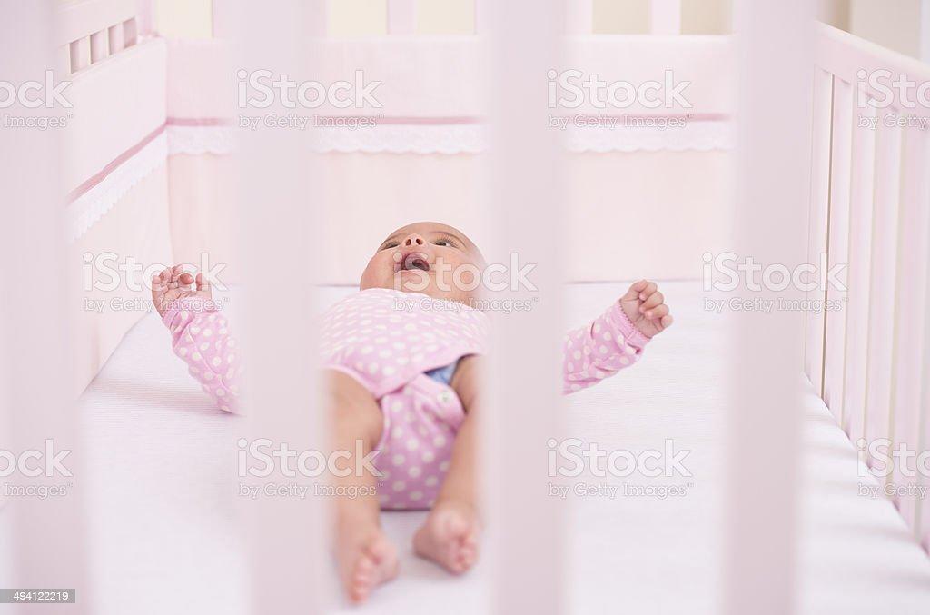 Sleepy baby waking up. royalty-free stock photo