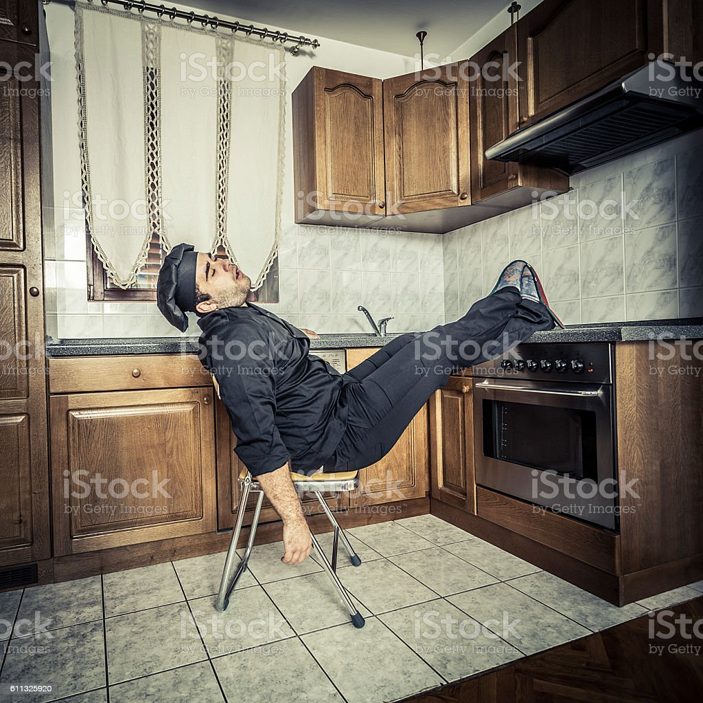 Sleepy chef stock photo