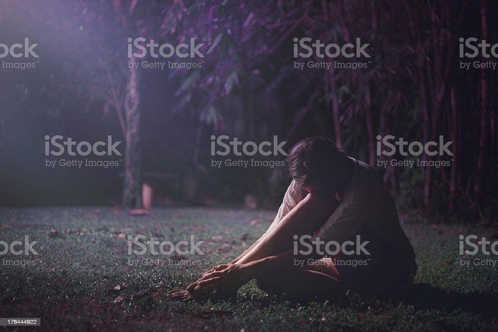 Sleepy girl in jungle royalty-free stock photo