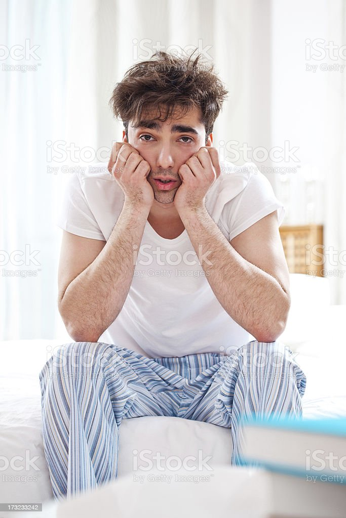 Sleepy man stock photo