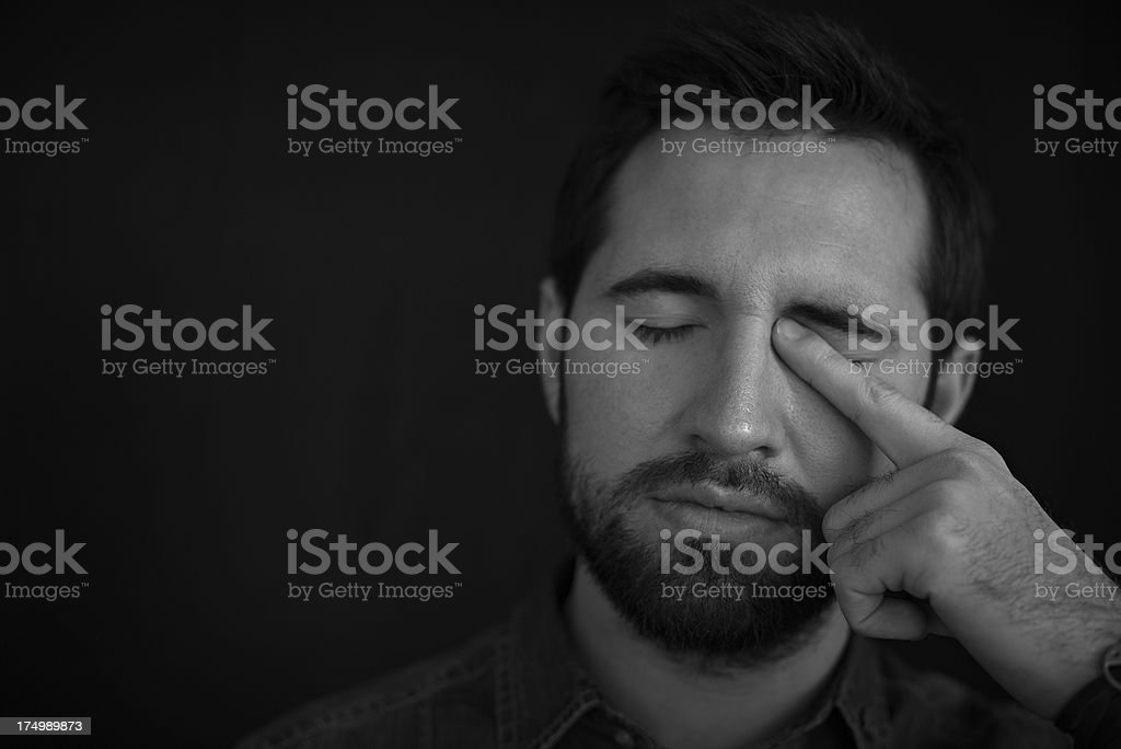 Sleepy man stock photo