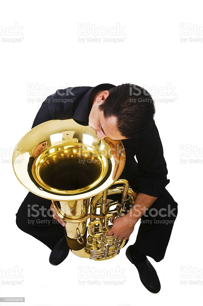 Sleepy musician stock photo