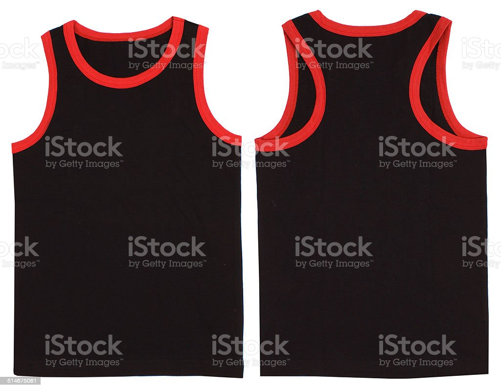 Sleeveless unisex shirt front and back view stock photo