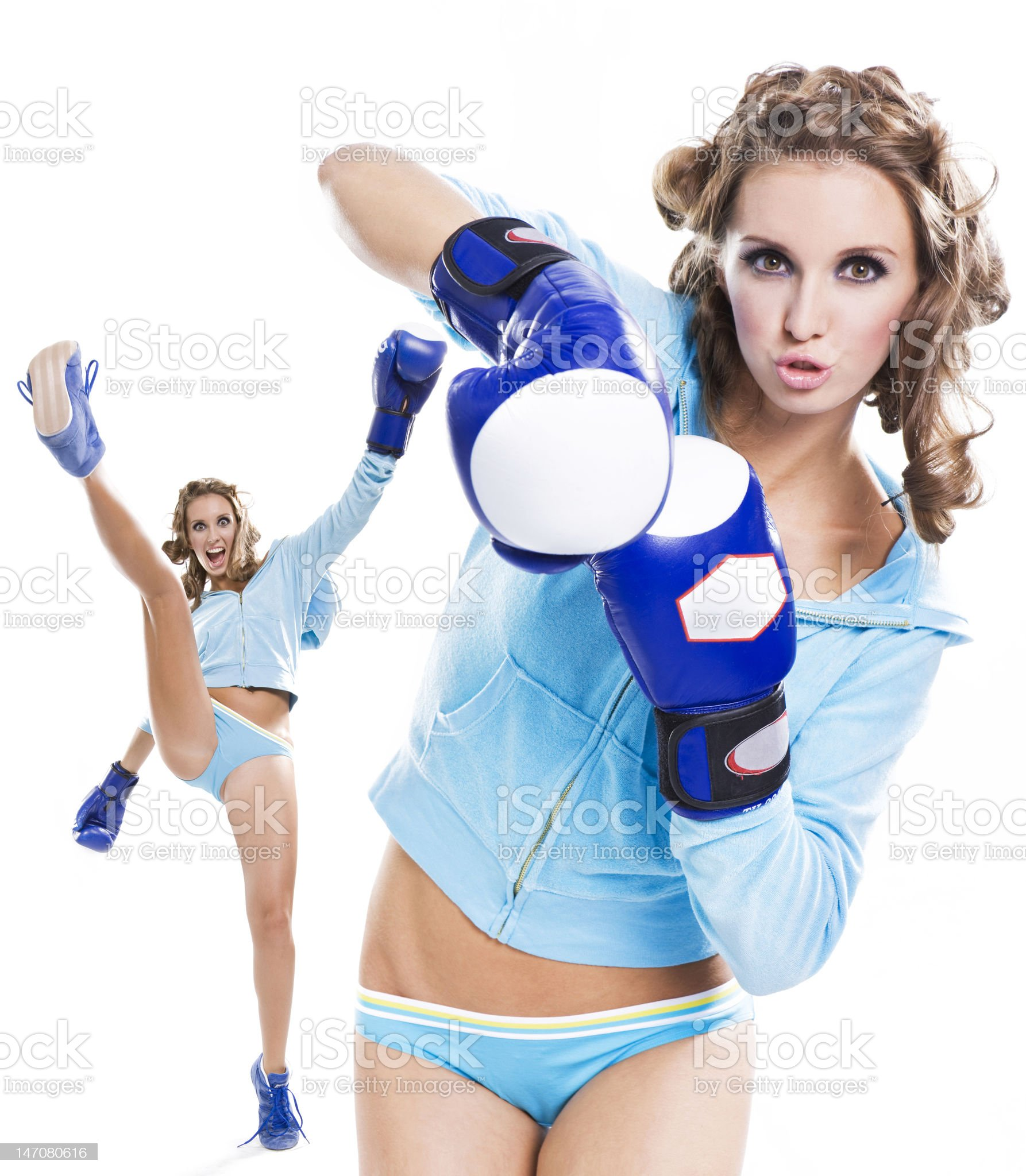 slender girl fun playing sports boxing royalty-free stock photo