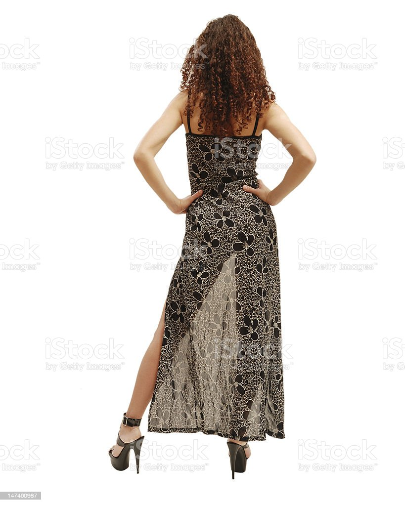 Slender woman through the transparent dress. stock photo