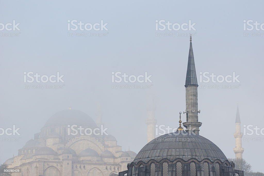 S?leymaniye Mosque on a foggy Istanbul morning royalty-free stock photo