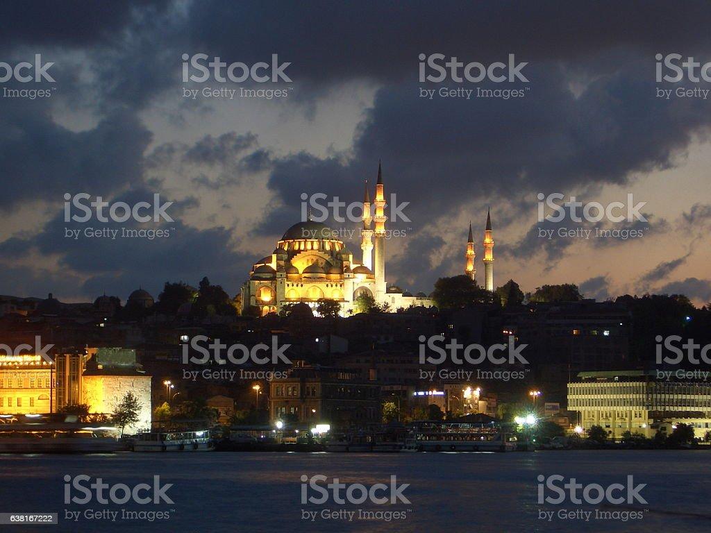 Süleymaniye Mosque under sunset in Istanbul, Turkey. stock photo