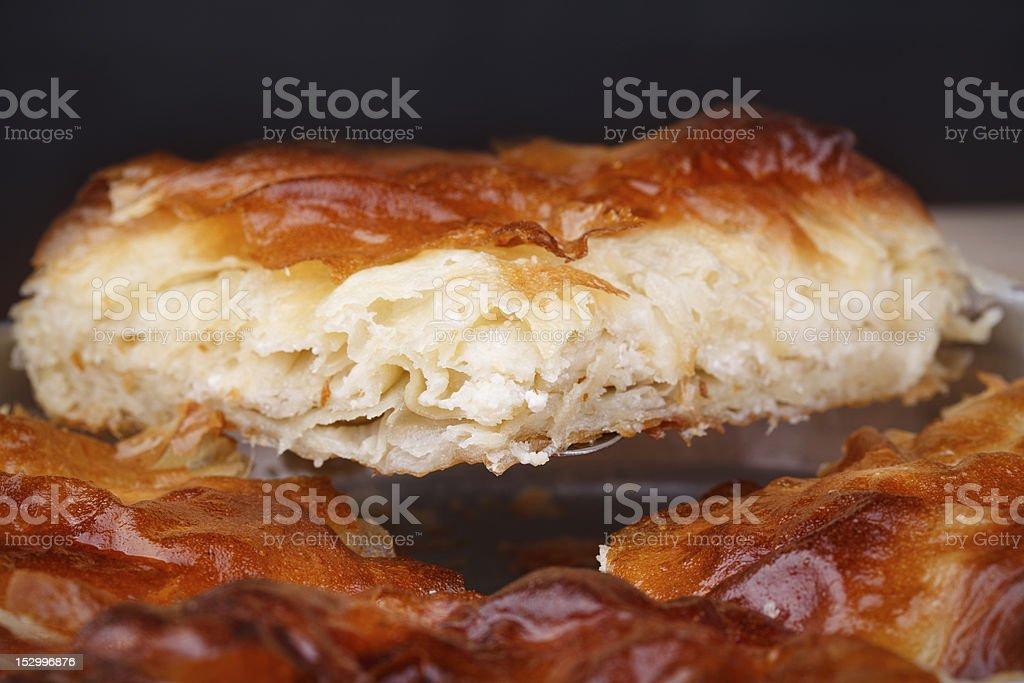 Slice burek with cheese stock photo