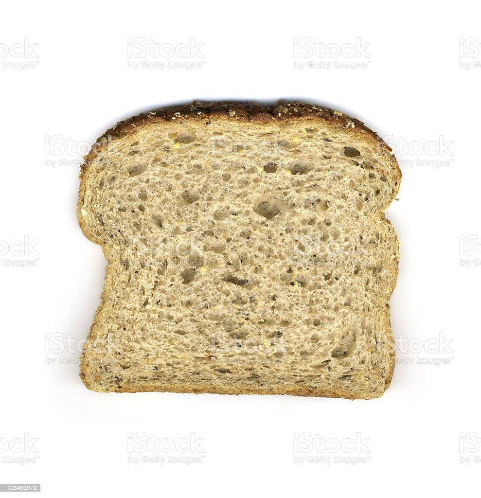 Slice of 14 grain whole wheat bread stock photo