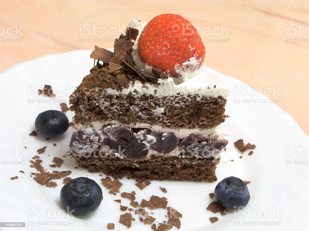 Slice of a Black Forest cake royalty-free stock photo