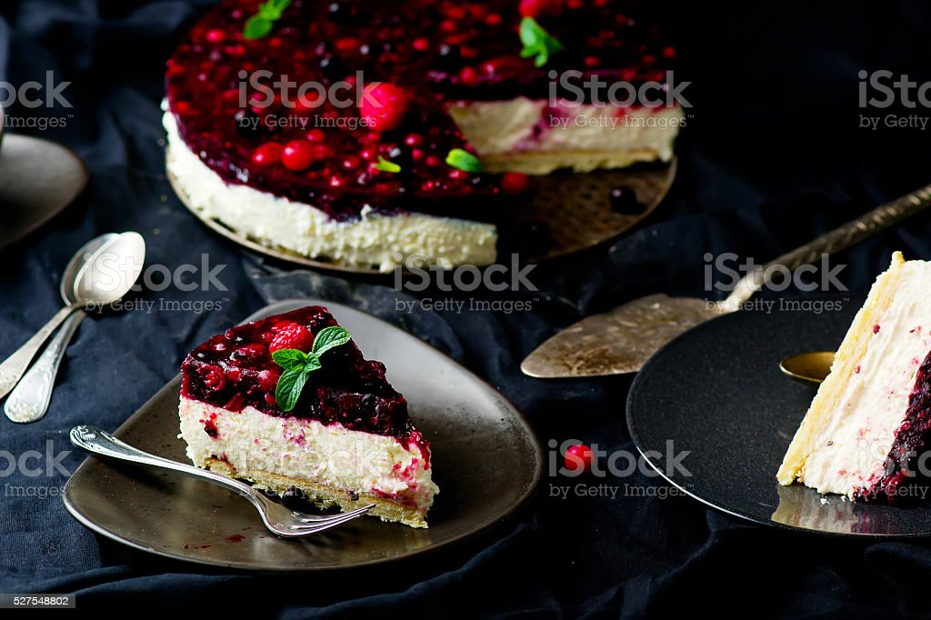 slice of a tart with fresh berries. stock photo
