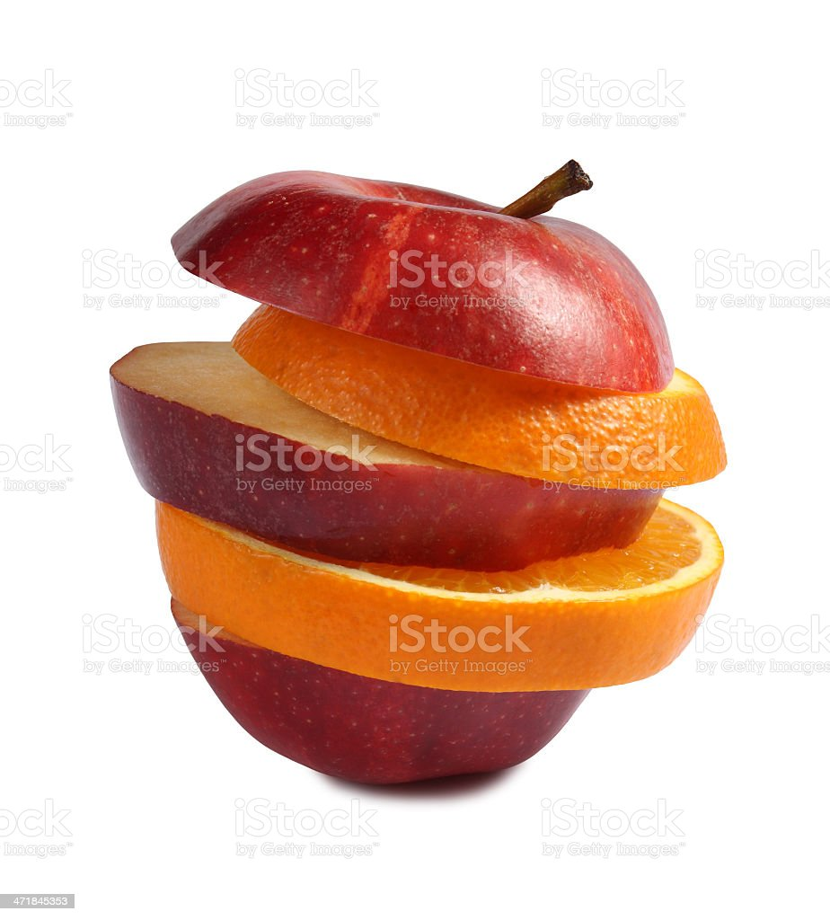 Slice of apple and orange stock photo