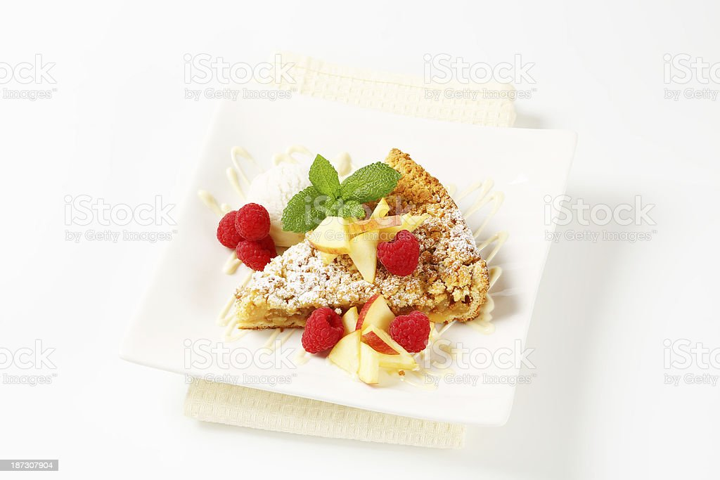 slice of apple pie with ice cream and fruits royalty-free stock photo